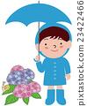 男孩与雨衣弹出雨伞和绣球花 23422466