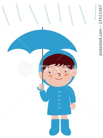 一个男孩用雨伞雨衣 23422467