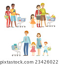 Families With Shopping Carts In Supermarket 23426022