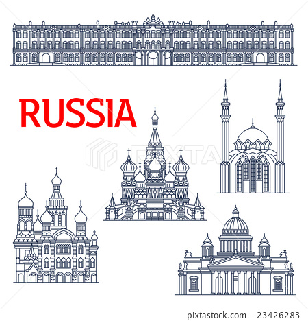 Thin line landmarks for tourism in Russia 23426283