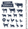 Domestic farm animals flat silhouette vector icons 23427566