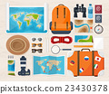 Travel and tourism. Flat style. World, earth map 23430378