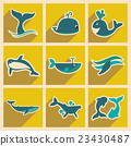 Set flat icons with long shadow whales 23430487