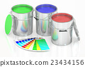 Paint cans and palette, 3D rendering 23434156