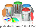 Paint cans, palette and roller brush. 3D rendering 23434157