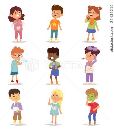 Sick children vector set. 23436210