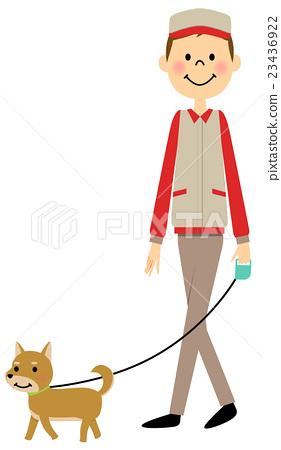 A man in a work clothing walking a dog 23436922