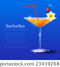 Cocktail Glass with straw and flower 23439268