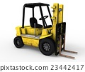 3d illustration of old forklift. 23442417