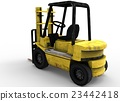 3d illustration of old forklift. 23442418
