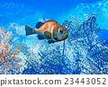 Fish on reef - 3d illustration 23443052