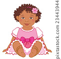 Cute African American baby girl in pink dress 23443944