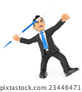 3D Businessman throwing a javelin 23446471