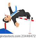 3D Businessman competing in high jump. Overcoming 23446472