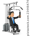 3D Businessman exercising in a weight machine 23446474
