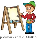 Boy painting on canvas 1 23446815