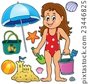 Girl and beach related objects theme set 23446825