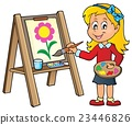 Girl painting on canvas 1 23446826