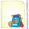 Notebook page with schoolbag 1 23446831