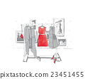 Fashion illustration with hangers with dresses 23451455