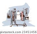 Pastel fashion illustration hangers with dresses. 23451456