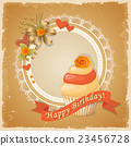 birthday card with cake , ribbon and rose 23456728