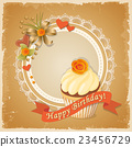 birthday card with meringue cake, ribbon and rose 23456729