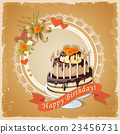 birthday card with cake tier, ribbon and roses 23456731