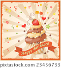 birthday card with cake, ribbon and strawberry 23456733