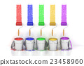 Paint cans and roller brushes. 3D rendering 23458960