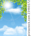 trees branches with green leaves on blue sky 23460372