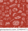 Hand drawn fast food pattern 23464471