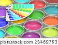 Paint cans background with pantone color palette 23469793