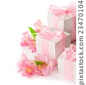 Festive composition of flowers and gifts 23470104