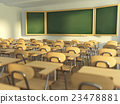School classroom with empty school chairs  23478881