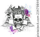 Skull. Hipster  silhouette with mustache and 23479844