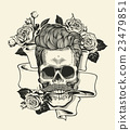Hipster skull silhouette with mustache and arose 23479851