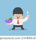 Businessman holding vegetables salad bowl 23480616