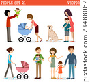 Vector set of people with children and dog 23488062