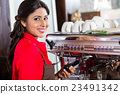 Barista woman making coffee in cafe with machine 23491342
