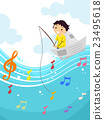 Kid Boy Stickman Musical Note Fishing 23495618