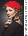 Beautiful lady in red beret 23496314