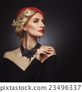 Beautiful lady in red beret 23496337
