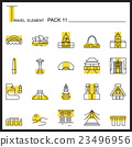 Travel Element Line Icon Set 11.Landmark thin icon 23496956