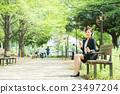 businesswoman, perimeter, sumaho 23497204