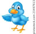 Cartoon Bluebird Pointing Wing 23497613