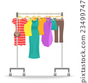 Rolling hanger rack with women clothes collection 23499747