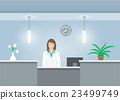 Woman receptionist in medical coat at reception 23499749