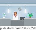 Woman receptionist in medical coat at reception 23499750