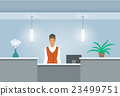African Woman receptionist at reception desk 23499751